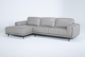 """Donatello Leather 2 Piece 114"""" Sectional With Left Arm Facing Chaise"""