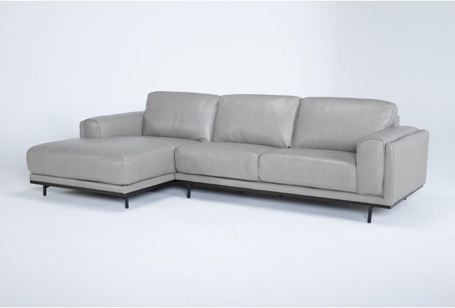 "Donatello Leather 2 Piece 114"" Sectional With Left Arm Facing Chaise - 360"