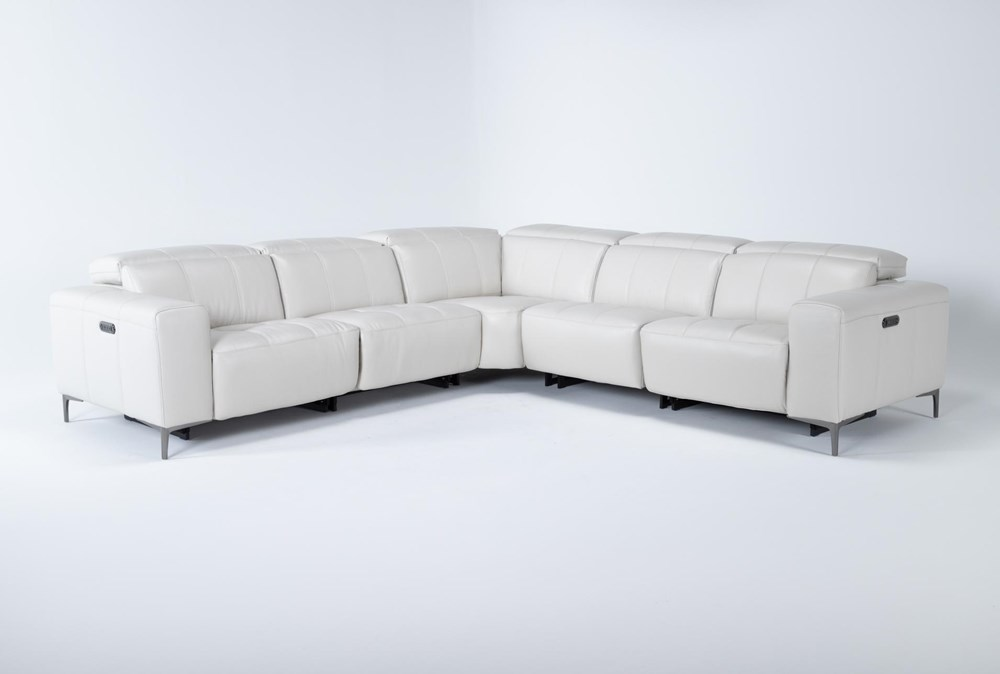 """Alessa Frost 5 Piece 113"""" Power Reclining Sectional With Power Headrest And Usb"""