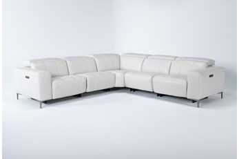 "Alessa Frost 5 Piece 113"" Power Reclining Sectional With Power Headrest And Usb"