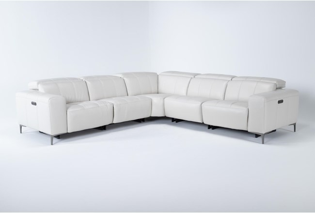 """Alessa Frost 5 Piece 113"""" Power Reclining Sectional With Power Headrest And Usb - 360"""