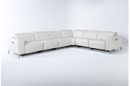 """Alessa Frost 6 Piece 142"""" Power Reclining Sectional With 2 Power Headrest,Usb And 2 Armless Chairs"""