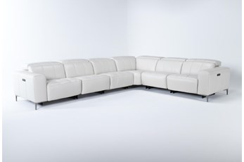 "Alessa Frost 6 Piece 142"" Power Reclining Sectional With 2 Power Headrest,Usb And 2 Armless Chairs"