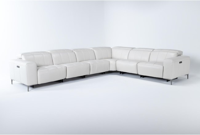 Alessa Frost 6 Piece Power Reclining Sectional With 2 Power Headrest,Usb And 2 Armless Chairs - 360