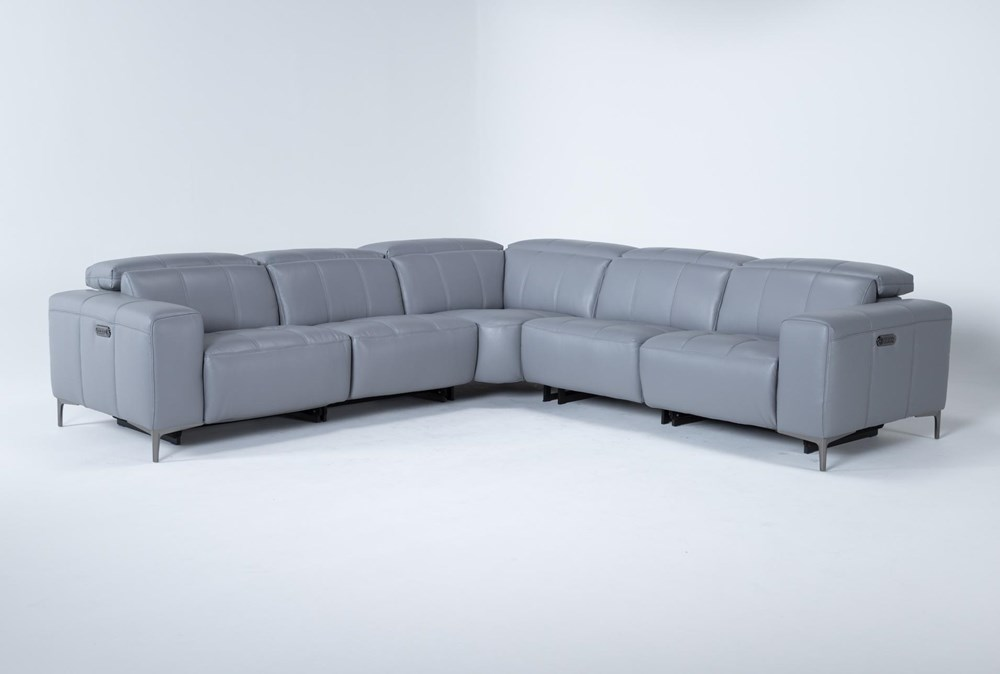 """Alessa Sleet 5 Piece 113"""" Power Reclining Sectional With Power Headrest And Usb"""