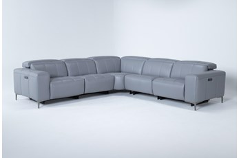 Alessa Sleet 5 Piece Power Reclining Sectional With Power Headrest And Usb