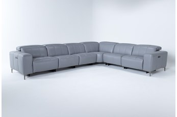Alessa Sleet 6 Piece Power Reclining Sectional With 2 Power Headrest,Usb And 2 Armless Chairs