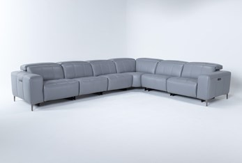 """Alessa Sleet 6 Piece 142"""" Power Reclining Sectional With 2 Power Headrest,Usb And 2 Armless Chairs"""