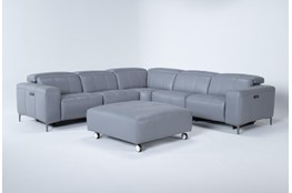 Alessa Sleet 5 Piece Power Reclining Sectional With Cocktail Ottoman