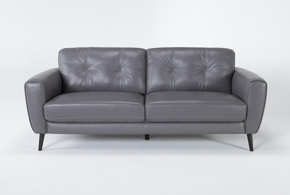 "Benita Sleet Leather 81"" Sofa"