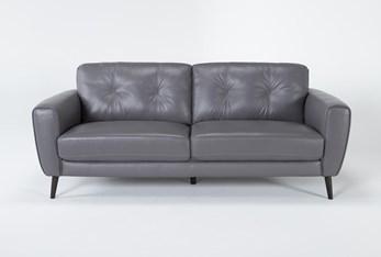 "Benita Sleet Leather 81"" Sofa"