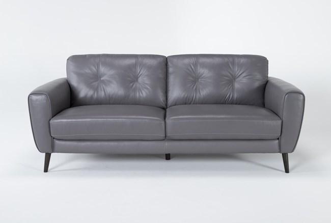 "Benita Sleet Leather 81"" Sofa - 360"