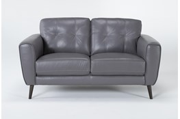 "Benita Sleet Leather 61"" Loveseat"