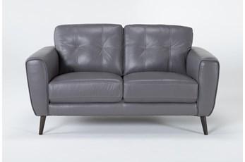 Benita Sleet Leather Loveseat