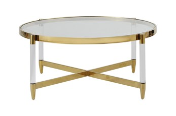 Lucite + Brass Round Coffee Table