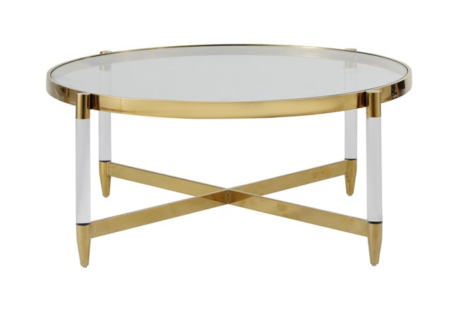 Lucite + Brass Round Coffee Table - 360