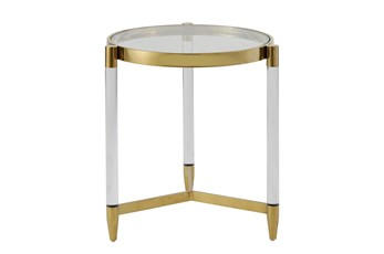 Lucite + Brass Round Accent Table