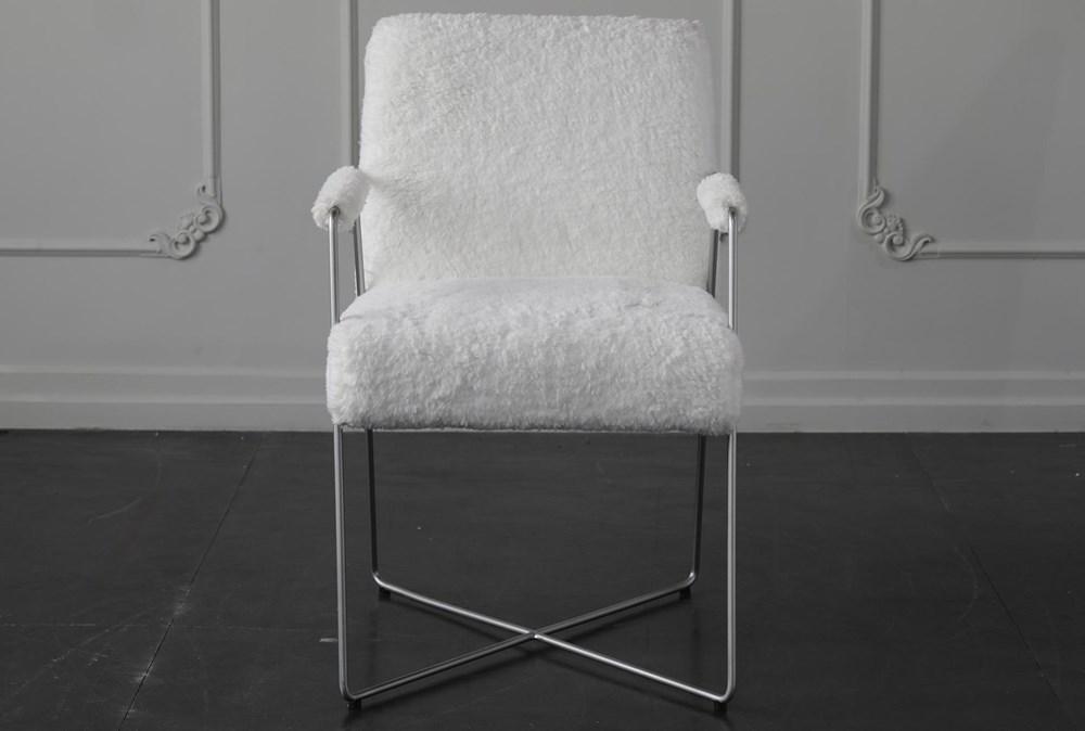 White Faux Fur Arm Chair