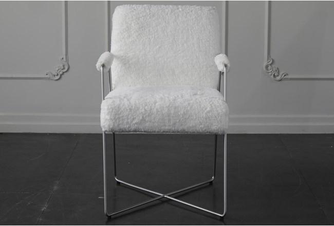 White Faux Fur Arm Chair - 360