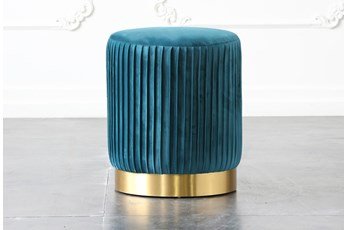Hunter Green Pleated Ottoman