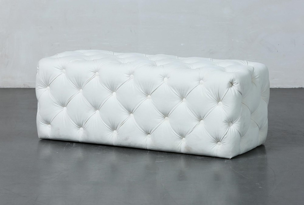Ivory Tufted Rectangle Ottoman