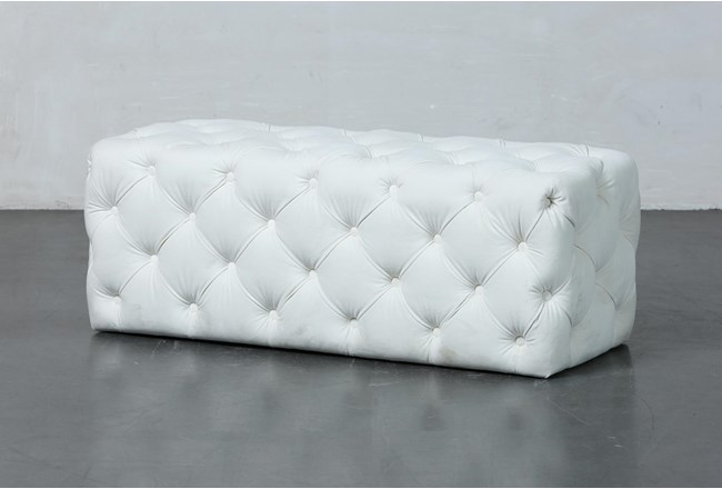 Ivory Tufted Rectangle Ottoman - 360