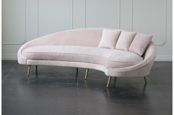 "Curved Art Deco Blush 102"" Sofa"
