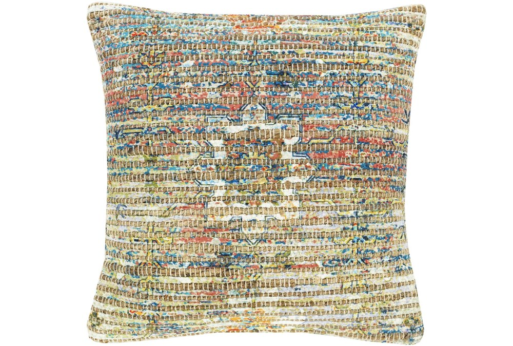 Accent Pillow-Jute Traditional Multi Color 18X18