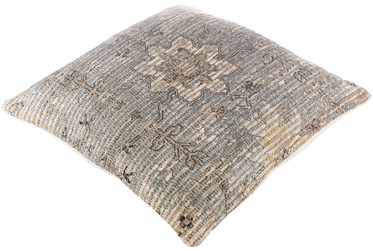 Floor Cushion-Jute Traditional Pewter 26X26