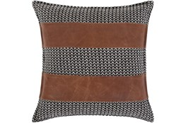 Accent Pillow-Herringbone & Leather Stripes 20X20