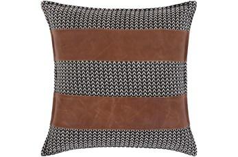 Accent Pillow-Herringbone & Leather Stripes 20X20