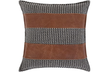Accent Pillow-Herringbone & Leather Stripes 20X20 - Main