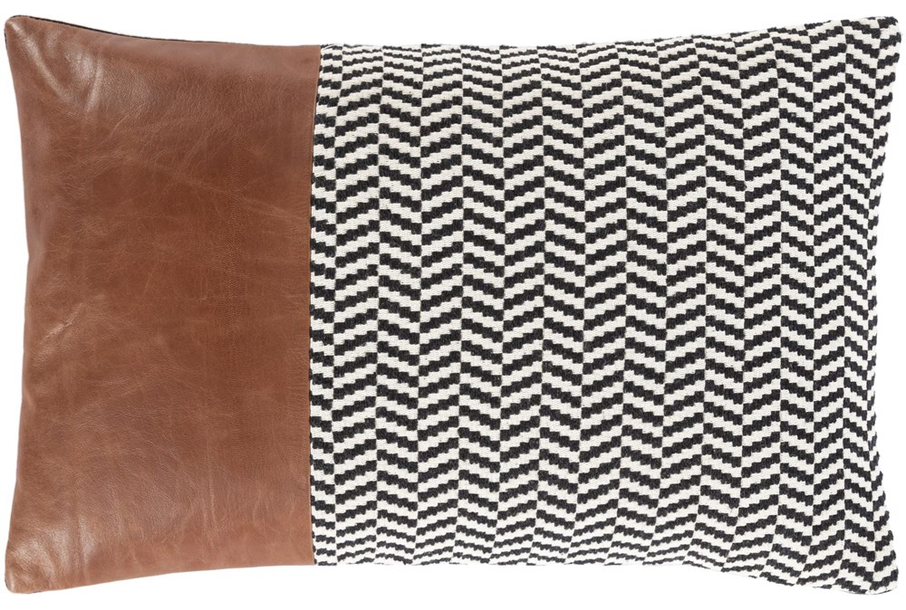 Accent Pillow-Herringbone & Leather Band 13X20