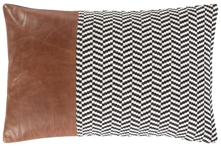 Accent Pillow-Herringbone & Leather Band 13X20 - Main