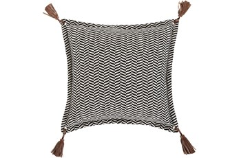 Accent Pillow-Herringbone & Leather Tassels 20X20
