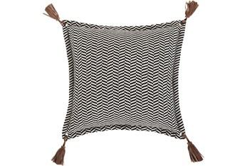 Accent Pillow-Herringbone & Leather Tassels 20X20