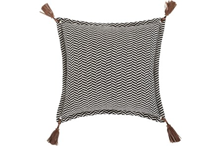 Accent Pillow-Herringbone & Leather Tassels 20X20 - Main