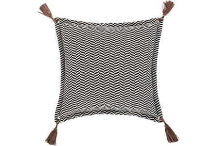 Accent Pillow-Herringbone & Leather Tassels 20X20 - Main
