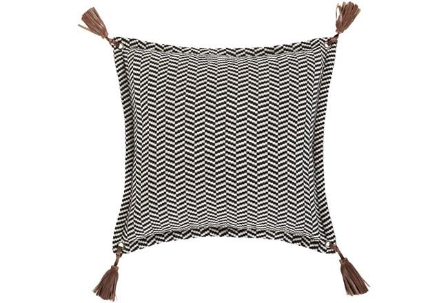 Accent Pillow-Herringbone & Leather Tassels 20X20 - 360