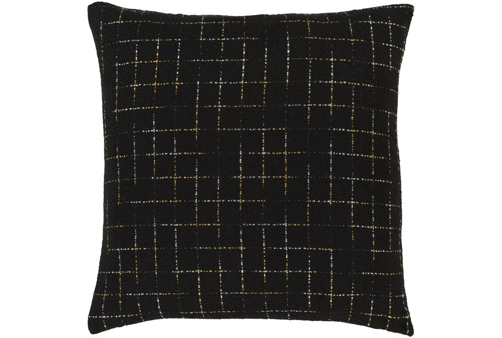 Accent Pillow-Metallic Grid Black/Gold 20X20