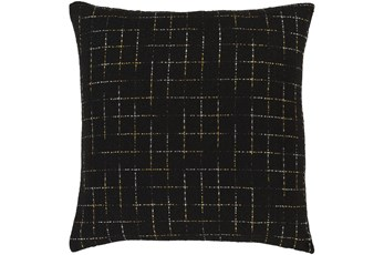 Accent Pillow-Metallic Grid Black/Gold 20X20