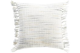 Accent Pillow-Side Fringe Soft Blue  20X20