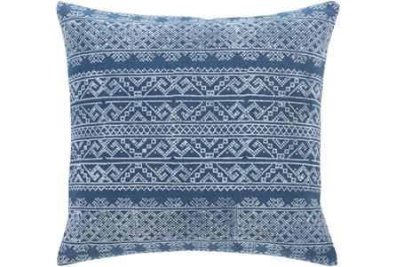 Accent Pillow-Block Print Denim 22X22 - Main