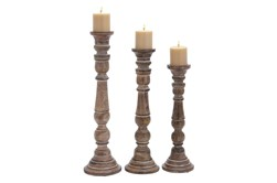 Whitewashed Brown Wooden Candle Holders Set Of 3
