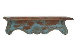 32 Inch Rustic Ornate Turquoise Wall Shelf