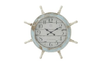 28 Inch Distressed Captains Wheel Wall Clock