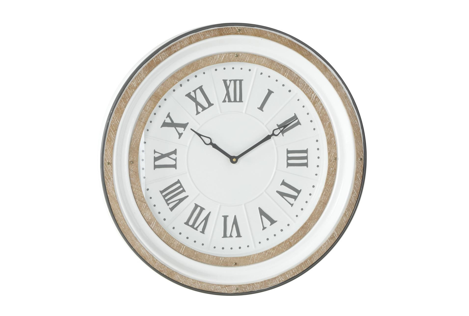White And Wood Roman Numeral Wall Clock