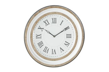 24 X 24 White And Wood Roman Numeral Wall Clock