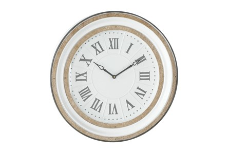 24 X 24 White And Wood Roman Numeral Wall Clock - Main