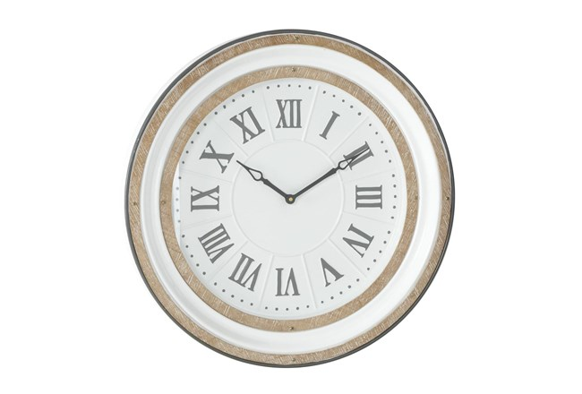 24 X 24 White And Wood Roman Numeral Wall Clock  - 360